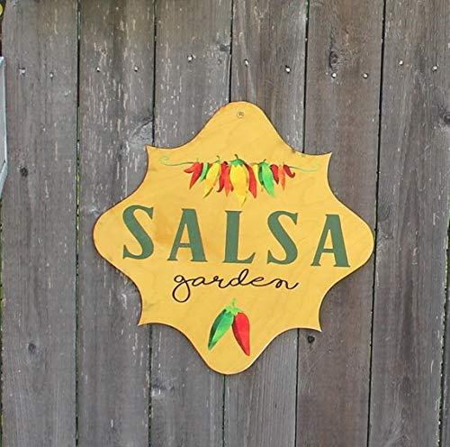 MarthaFox Salsa Garden Sign/Decorative/Garden Sign/Stake or Ribbon/Gift/Garden Sign/Door Sign/Porch Sign/Shabby Chic Wood Sign ()
