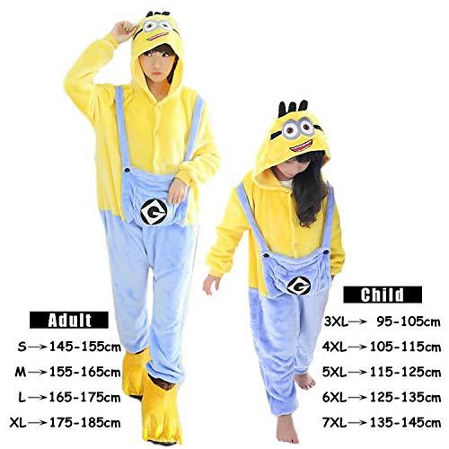 Unicorn Pegasus Stitch Panda Animal Flannel Pajamas Sets Cartoon Sleepwear for Adult Women Men,Minion,XXXL