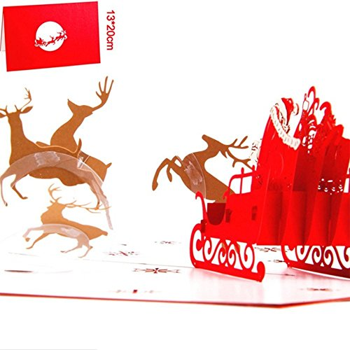 Dearjana 5 Pack Christmas 3D Pop Up Greeting Holiday Cards Gifts for Xmas/New Year including Reindeer, Christmas Castle, Santa Ride, Santa Claus, Christmas Tree Snowman