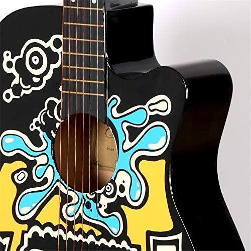 アコースティックギター ギターフォークキャラクターグラフィティ初心者が練習ギター入門します 小学生 大人用 ギター初級 (色 : Khaki, Size : 38 inches)