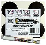 Ziggyboard Chalkboard 2 1/2 Inch Round Canning, Spice or Kitchen Labels with Fine Tip White Chalk Marker 15 Round Stickers