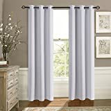 Aquazolax Premium Thermal Insulated Solid Eyelets Top Blackout Window Curtains for Office, 2 Panel Set, 42inch x 63inch, Greyish White