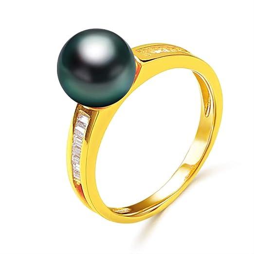 Anillo de joyería de Boda de Perlas de 14 k Anillo de Perlas de Tahití Negro de 8 mm a 9 mm para Mujer