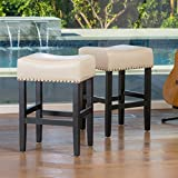 Great Deal Furniture 238557 Chantal Backless (Set of 2) Ivory Leather Counter Stools w/Chrome Nailheads