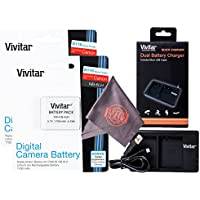 2 Pack Vivitar NB-6L / NB-6LH Ultra High Capacity Rechargeable 1700mAh Li-ion Batteries + Vivitar Dual Charger + Microfiber Lens Cleaning Cloth for CANON PowerShot (Canon NB-6L / NB-6LH Replacement)