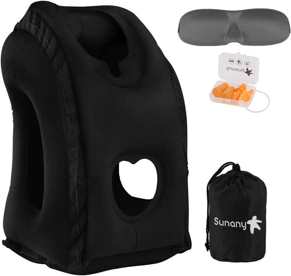 Sunany Travel Pillow,Inflatable Airplane Neck Pillow Used for Airplanes//Cars//Buses//Trains//Office Napping with Free Eye Mask//Earplugs Black