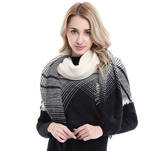 Womens Plaid Scarf Square Long Scarves Stylish Warm Blanket Scarf Gorgeous Wrap Shawl Cozy Tartan Wrap Oversized Shawl