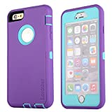 Lordther Shock-resistant Dustproof Armor Case Cover for Iphone 6 Plus (purple+blue)