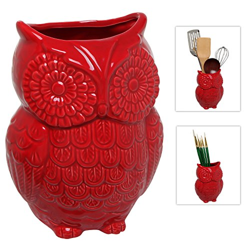 MyGift Red Owl Design Ceramic Cooking Utensil Holder / Multipurpose Kitchen Storage Crock