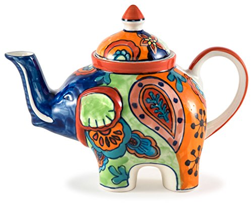 - Hand-Painted Paisley Ceramic Elephant Teapot - 9