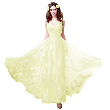 Amazon.com: JoyVany New Design Lace Embroidery V Neck Ankle Length ...