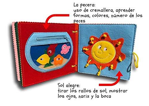 Quiet Book-Libro blando de fieltro para el desarrollo, aprendizaje y estimulación de los niños pequeños.Libro de actividades infantil-juguete sensorial y ...