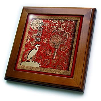 3dRose Beverly Turner Design Crane and Lantern Happy Chinese New Year in Chinese ft/_12979/_1 8x8 Framed Tile
