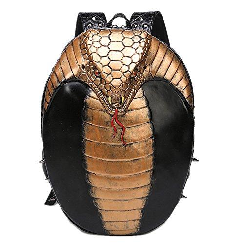 Doble bandolera Halloween Rock unisex 3D Cobra iPad mochila Gold