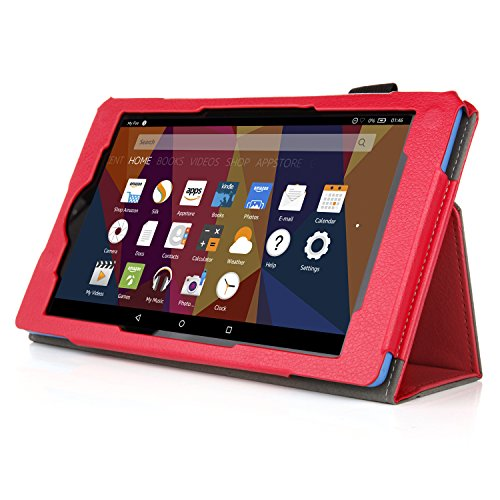 Folio Tablet 7 (Case for All-New Fire 7 2017 - Premium Folio Case for All-New Fire 7 Tablet with Alexa 7th Generation - (Red))