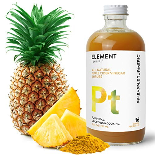 Element Shrub - All-Natural Pineapple Turmeric Shrub Drink Mix - Uses Apple Cider Vinegar (Organic), Pineapple & Organic Turmeric - Organic Apple Cider Vinegar Drink & Cocktail Mix - 8 Ounces