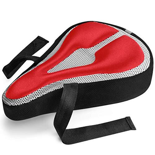 Funda para asiento de bicicleta de gel, mayor comodidad Rojo