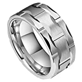 DOUX Men's 10mm Brick Pattern Silver Tungsten Carbide Statement Ring Wedding Ring For Anniversary 11