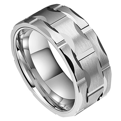 (DOUX Men's 10mm Brick Pattern Silver Tungsten Carbide Statement Ring Wedding Ring for Anniversary 9)