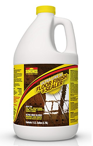 Floor Wax Vinyl - ULTRA HIGH GLOSS 33% Solids Floor Finish Wax - 1 Gallon (More Durable, Less Coats, Less Labor)