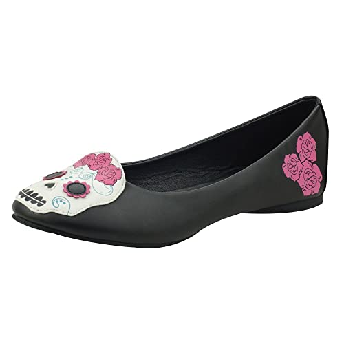 T.U.K. Shoes Women's Black Day Of the Dead Kitty Flats EU36 / UKW3 Tm9OG27dvl
