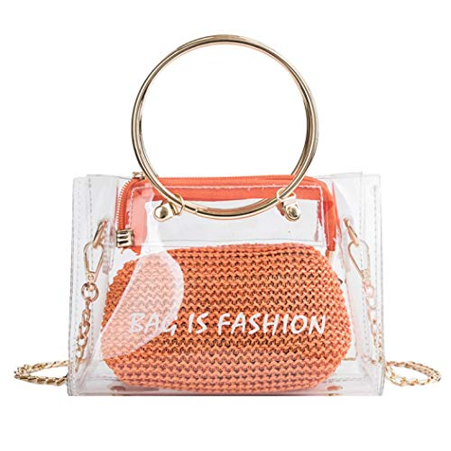 (2 in 1 Clear Tote Transparent Bag Top Ring Handle Straw Handbag Small Chain PVC Shoulder Bag (Orange)