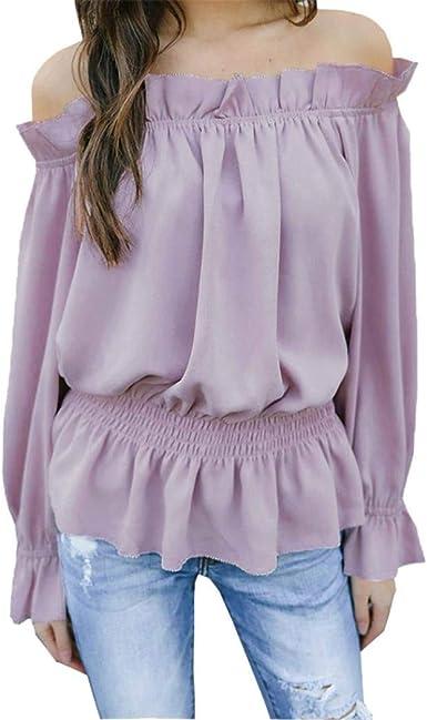 Betrothales Camisa Blusas para Camisetas Camisas Fuera Blusa Mujer Hombro Blusa Larga Blusa Camisa Business OL Volantes con Corte Gasa Blusa: Amazon.es: Ropa y accesorios