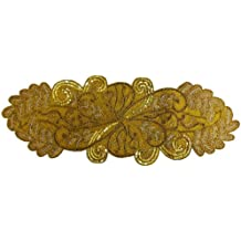 Cotton Craft - Beaded Table Runner - Scrolling Leaves - Gold - 16x54 - Hand Made by Skilled Artisans - A Beautiful Complement to Your Dinner Table Décor - Spot Clean Only