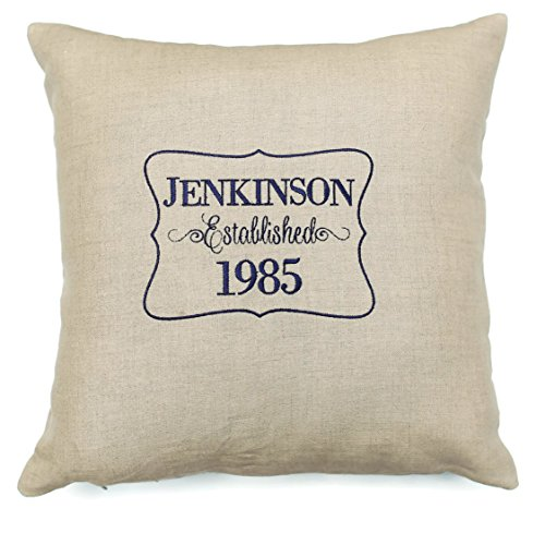 100% Linen Custom Embroidered and Personalized Pillow 16