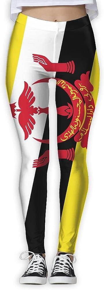 BabylLave Flag Of Brunei Women Printed Full-Length Yoga Workout Leggings For Running Outdoor Sports