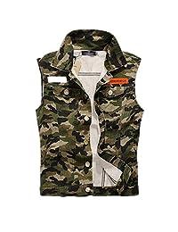 Hzcx Fashion mens brush frazzle denim jean vest button up motocycle jacket