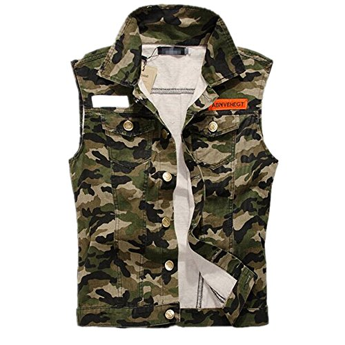 Hzcx Fashion mens denim vest Military Camouflage travel vests with pocket 2016-03-23-02-P65-US M(38)TAG XXL (Camouflage Mens Vest)