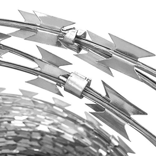 vidaXL 12'' Razor Wire/Helical Barbed Wire Galvanized Steel 1 Coil 197 Feet Coverage by vidaXL (Image #3)