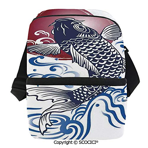 - SCOCICI Collapsible Cooler Bag Ornate Japanese Brocaded Carp Fin with Red Circular Form Eastern Fresh Graphic Insulated Soft Lunch Leakproof Cooler Bag for Camping,Picnic,BBQ