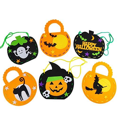 B bangcool 6PCS Halloween Candy Bag Cute Cartoon DIY Trick or Treat Bag Halloween Gift Bag -