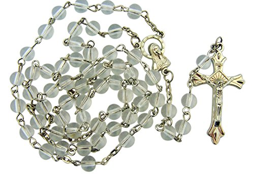 Childrens Rosary Beads - Clear Glass Beads Rosary, 6mm Beads, Great for Women, Men or Children