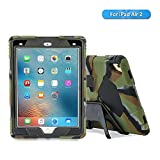 iPad Air 2 Case - iPad Kids Case - Aceguarder Shockproof Scratchproof Drop Resistance Super Protection Cover Case for iPad Air 2 (camo-Black)