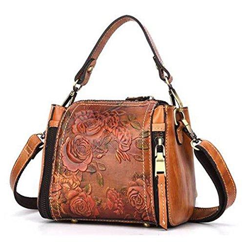 Top Handle Satchel Handbags, JOSEKO New Retro Genuine Leather Bucket Handbag Hand Embossed Craft Flower Crossbody Bag Coffee 6.89 inch(L) x 3.94 inch(W) x 6.69 inch(H)