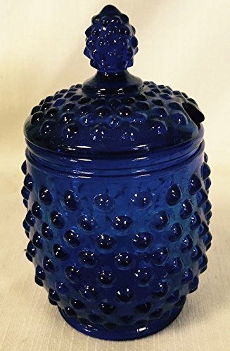 Hobnail Covered Honey Jar or Sugar Jar (Cobalt Blue) (Hobnail Glass Blue)