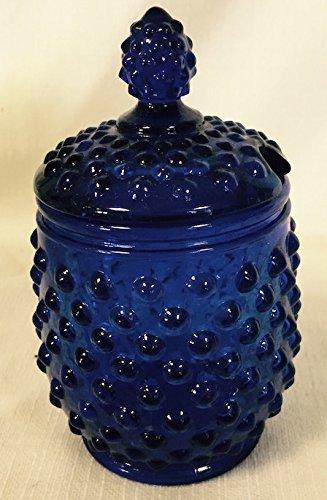 Hobnail Covered Honey Jar or Sugar Jar (Cobalt Blue) (Blue Hobnail Glass)
