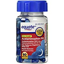 Equate - Pain Reliever PM Nighttime Sleep Aid, Extra Strength, Acetaminophen 80 Gelcaps by Equate