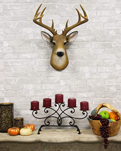 (Ebros Rustic 12 Point Buck Trophy Taxidermy Wall Decor Deer Head with Antlers Sculpture Hanging Plaque Figurine 21.5