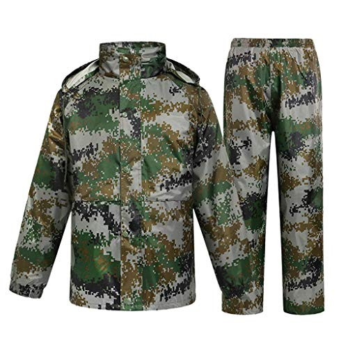 Adult Camouflage Raincoat Rain Pants Lengthening Environmentally Friendly Material Grid Lining Hat Can Be Hidden Outdoor Work Bowling