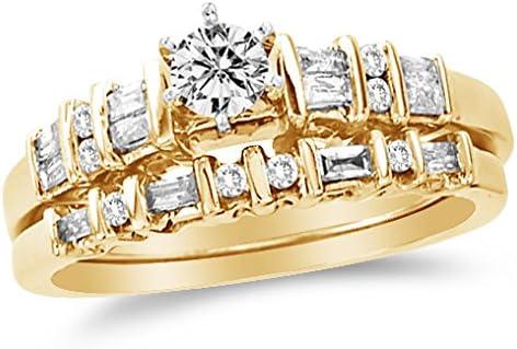 3.00 CT Baguette Diamante Anillo De Compromiso Banda Para Hombre De Oro Amarillo 14k de acabado de Pinky