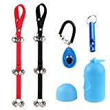 Foneso 2 of Dog Doorbells with Training Clicker, Waste Bag Dispenser and Dog Whistle for Dog Training and Housebreaking Your Doggy