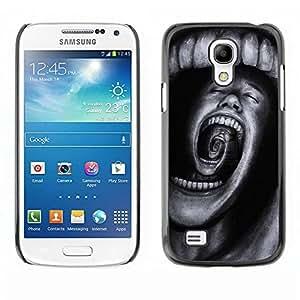 Hard Protector Case Cover Slim Back Shell for Samsung Galaxy S4 Mini i9190 MINI VERSION! /Teeth Horror Terror Black Spooky/ STRONG
