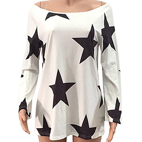 Tops Femme Shirt Tunique Blanc Solike Automne 4XL lgant Pentagramme Sport de Blouses sans Longues Printemps Bretelle Loose Impression T Manches S Sexy x11E76wq