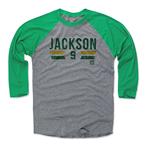 (500 LEVEL Reggie Jackson Baseball Tee Shirt (Large, Green/Heather Gray) - Oakland Athletics Raglan Tee - Reggie Jackson Font G)
