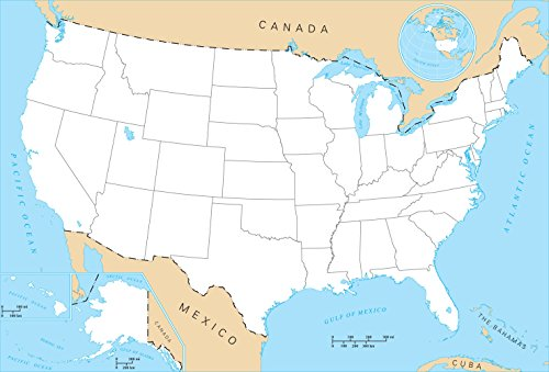 (BLANK UNITED STATES MAP GLOSSY POSTER PICTURE PHOTO BANNER north america us)