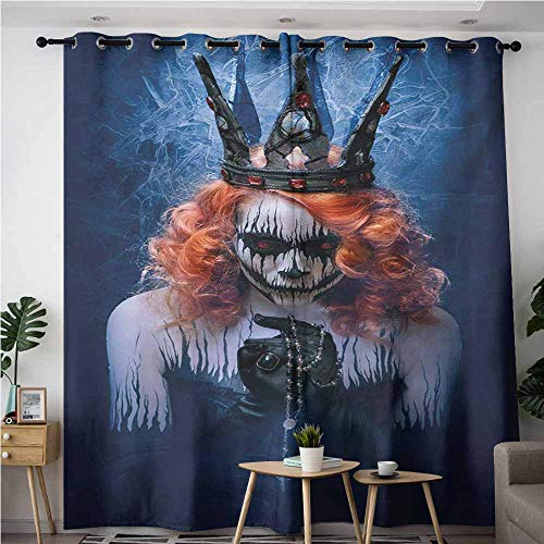 AndyTours Blackout Curtains,Queen,Queen of Death Scary Body Art Halloween Evil Face Bizarre Make Up Zombie,Room Darkening, Noise Reducing,W120x72L,Navy Blue Orange Black -